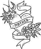 Isolated tattoo heart with ribbon, swallow, flowers and word Mother. Black and white illustration for Mother Day. Old school retro illustration. Retro tattoo.