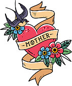 Isolated tattoo red heart with ribbon, swallow, flowers and word Mother. Vector illustration for Mother Day. Old school retro illustration. Retro tattoo.