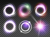 Isolated glowing light effects set with transparent background. Lightning special effects collection. Magic glowing ring, star light, swirl, flare and explosion with transparency. Vector illustration
