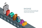 Isolated vector 3d isometric illustration of conveyor belt with different luggage, suitcases, bags. Concept for checked baggage claim, travel and tourism.