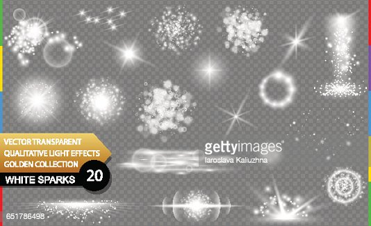 Isolated white sparks. Glow transparent vector light effect set, lens flare, explosion, glitter, spark, sun flash, and star burst. Abstract translucent special element design. Shine sparkling round : Vector Art