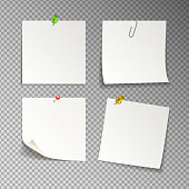 paper set of isolated white sticky notes on transparent background, vector illustration