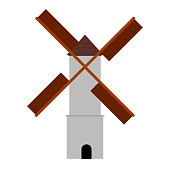 Isolated windmill image. Medieval building concept. Vector illustration design