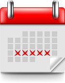 Menstruation calendar isolated photo realistic vector illustration