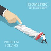 Flat 3d isometric 3d businessman trying to stop falling domino. Business crisis management and solution concept.