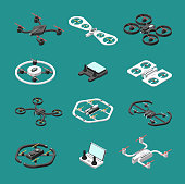 Isometric 3d drones. Uav unmanned aircrafts vector set. Illustration of quadrocopter remote, transport quadcopter equipment