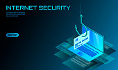 Isometric 3D laptop ormation account email online scam hacker. Spam antivirus internet security spam concept banner card vector illustration