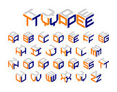 Isometric 3d type, three-dimensional alphabet. Vector illustration.