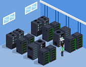 Isometric 3D vector illustration concept server room data center