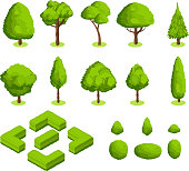 Isometric 3d vector park and garden trees and bushes. Green forest plants collection. Green tree and bush environment illustration