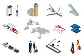 Isometric Airport Travel and transport Icons. Isolated people, airport terminal, airplane, traveler man and woman, airport runway, plane, runway, airport security