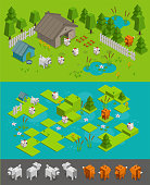 Isometric arcade game level set. Fox thief steals chickens on the farm dog protects. Design different character elements background. Vector stock illustration.