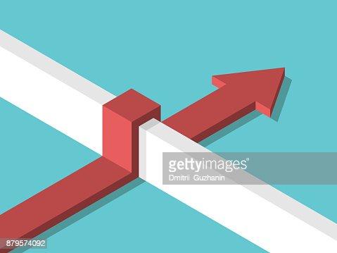 Isometric arrow above wall : stock vector