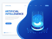 Isometric artificial intelligence business concept. Technology and engineering concept, data connection pc smartphone future technology