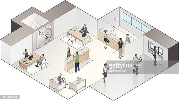 Isometric Bank Branch Illustration
