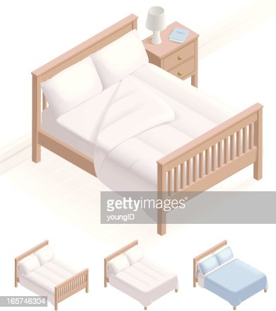 Isometric Bed & Bedding : Vector Art