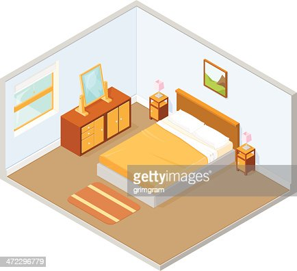 Isometric view of bedroom