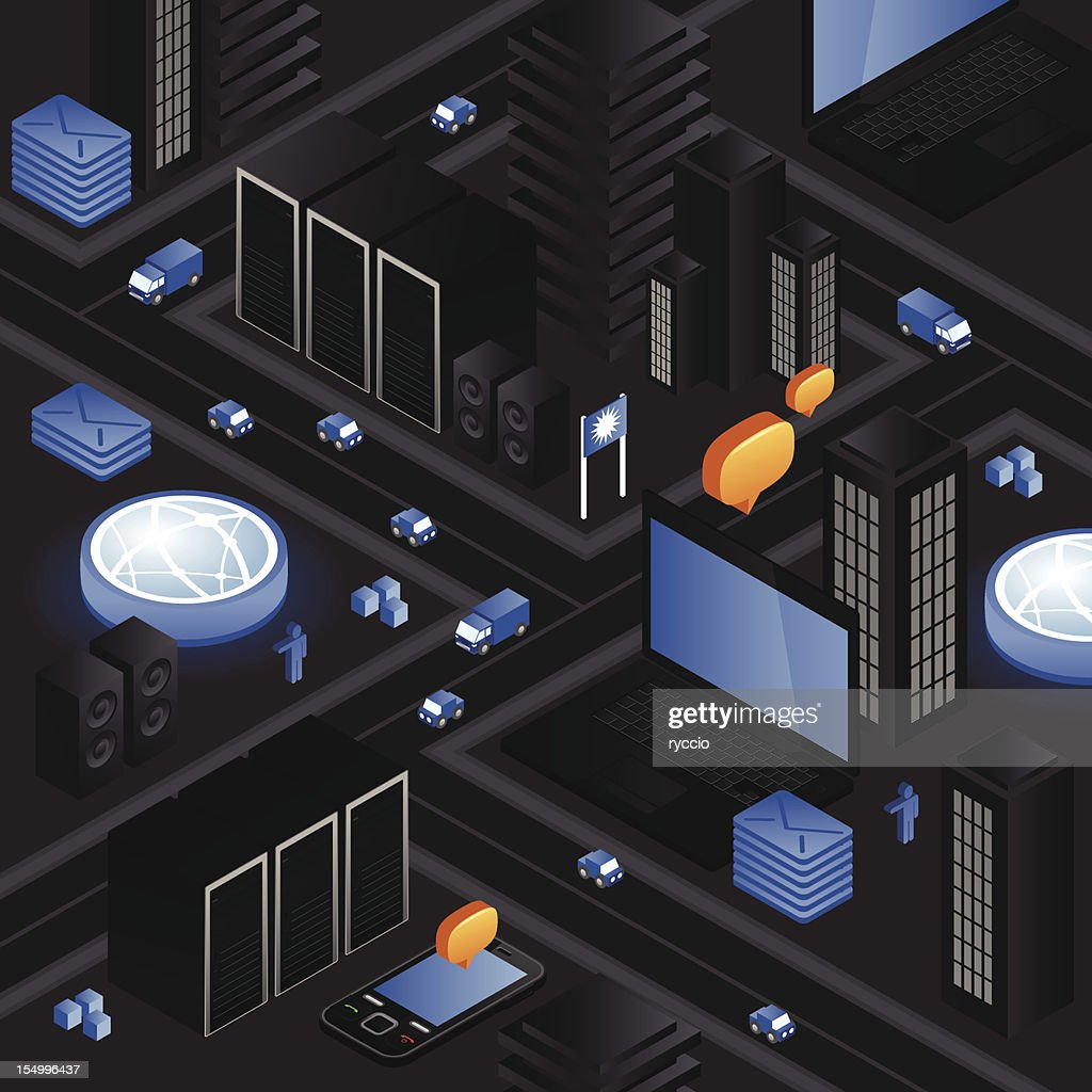 Isometric black hardware city : Vector Art