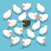 Isometric black sheep in the flock, outstanding, different, competitive advantage concept, VECTOR, EPS10
