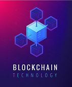 Isometric blockchain technology concept. Computer network, global cryptocurrency mining and blockchain data transfer illustration on ultraviolet background. Vector 3d isometric illustration.