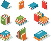 Isometric book icon vector illustration in flat design style isolated on white. Academic book learning symbol, reading school sign. Knowledge reading design isolated science university text book cover