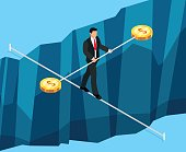 Isometric business concept of financial risks. 3d businessman walking through the abyss on the rope. Vector illustration.