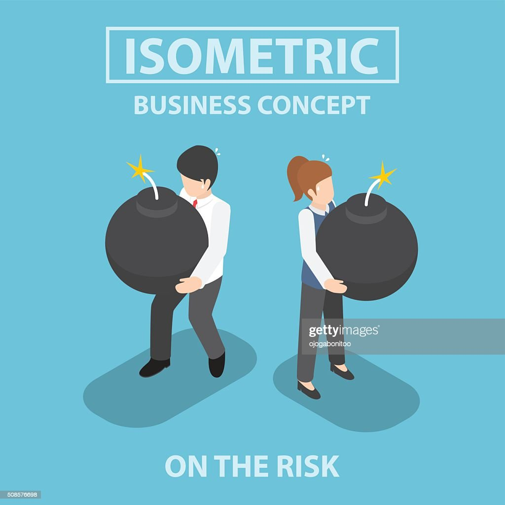 Isometric business people holding heavy bomb on their hands : Vector Art