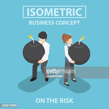 Isometric business people holding heavy bomb on their hands : Vectorkunst