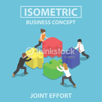 Isometric business people pushing and assembling four jigsaw puz