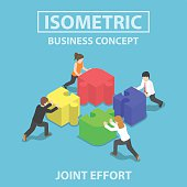 Isometric business people pushing and assembling four jigsaw puzzles, teamwork, collaboration, joint effort concept