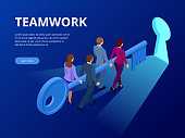 Isometric Business Success Key Concept. Business teamwork key of success concept. Group of people lifting key to success. Vector illustration