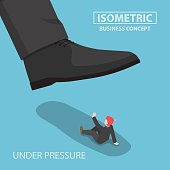 Isometric businessman being crushed by giant foot, work under pressure, business crisis concept, VECTOR, EPS10