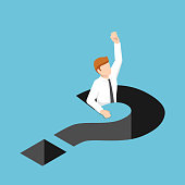 Flat 3d isometric businessman falling into question mark hole. Business trouble concept.