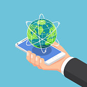 Flat 3d isometric businessman hand holding smartphone with world and global network. internet connection and global communication concept.
