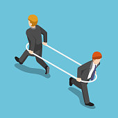 Flat 3d isometric businessman in the hoop running different way from each other. Business conflict concept.