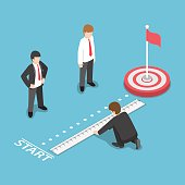 Flat 3d Isometric Businessman Measuring Distance Between Start Point and Target. Business Target Analysis Concept