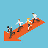 Flat 3d isometric businessman run following leader. Business leadership concept.