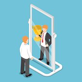 Flat 3d isometric businessman see himself being successful in the mirror, successful career concept