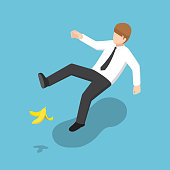 Flat 3d isometric businessman slipped on a banana peel. Business accident concept.