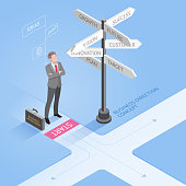 Business people concepts. Businessman standing at a crossroad and looking directional signs arrows.