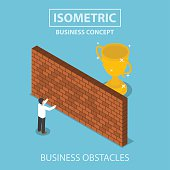 Isometric businessman standing in front of brick wall with trophy behind, business obstacle concept, VECTOR, EPS10