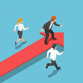 Flat 3d isometric businessman standing on red arrow at leader position. business success and leadership concept.