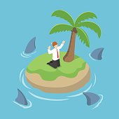 Isometric businessman stranded in an island surrounded by shark, danger, business risk, bankruptcy concept, VECTOR, EPS10