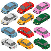 Isometric car, isometric auto. Flat isometric high quality city transport icon set.