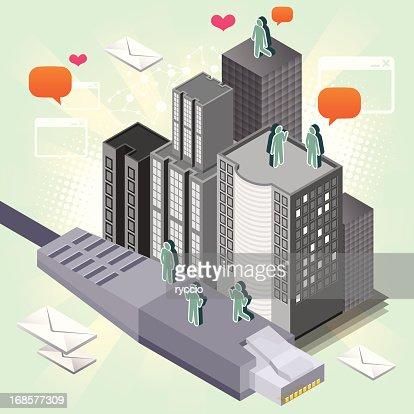 Isometric city on ethernet : Vector Art