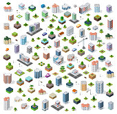 Isometric city set street road traffic cars. Infrastructure landscapes urban economy.