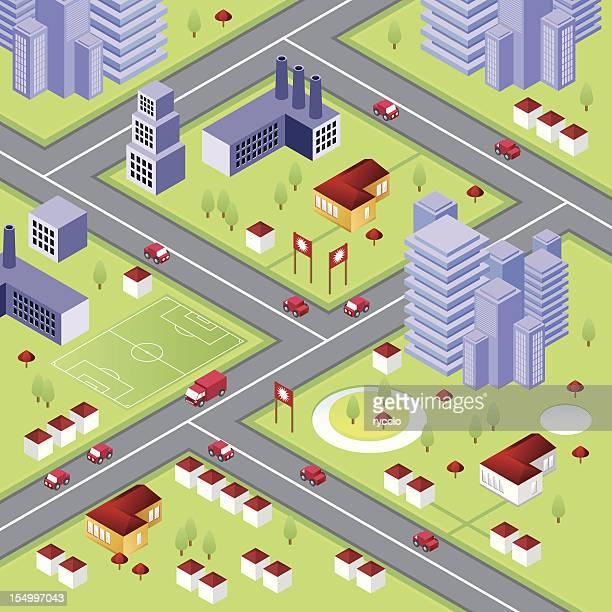 Isométricos de la ciudad con rascacielos