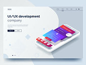 Isometric conceptual mobile phone with disassembled user interface. Ui, Ux development vector illustration. Landing page concept. Mobile app wireframe. Eps 10.
