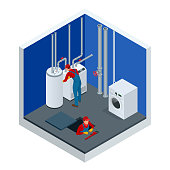 Isometric condensing boiler gas in the boiler room. Worker set up central gas heating boiler at home. Construction, maintenance and repair concept. Vector illustration.