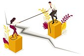Isometric conflict of partners and disagreements in business. Concept for web design.